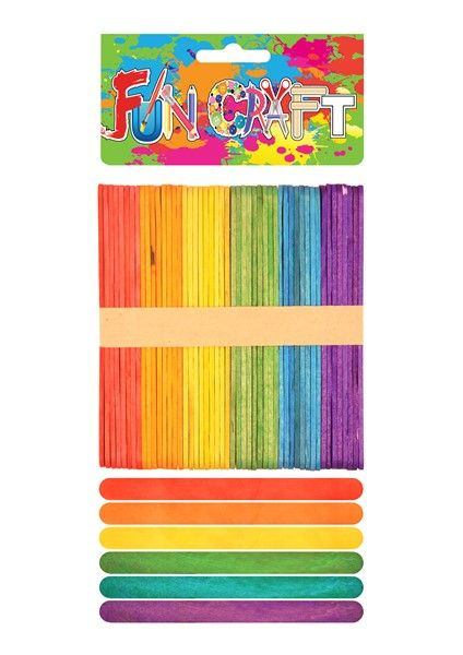 50 x Lollipop Ice Lolly Childrens Kids Art Craft Coloured Wooden Sticks